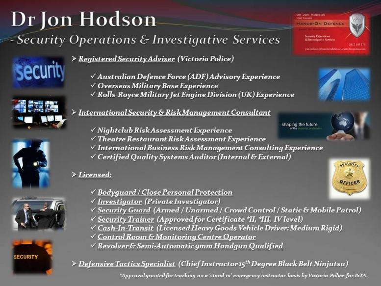Dr Hodson - Security Services Profile