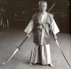 Soke Hatsumi With Naginata & Sword