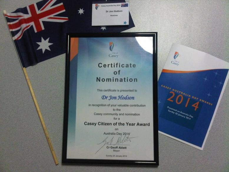 Australia Day Certificate of Nomination - 2014