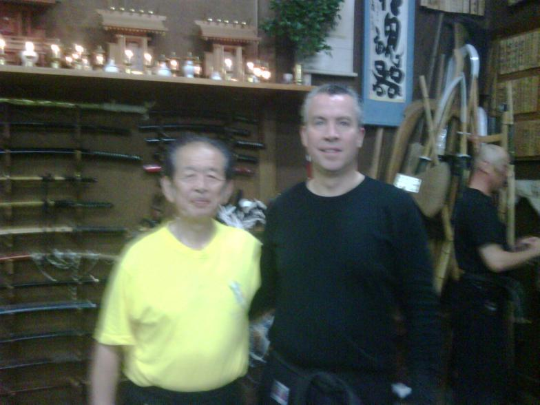 Soke Hatsumi with Shihan Hodson at the Hombu Dojo