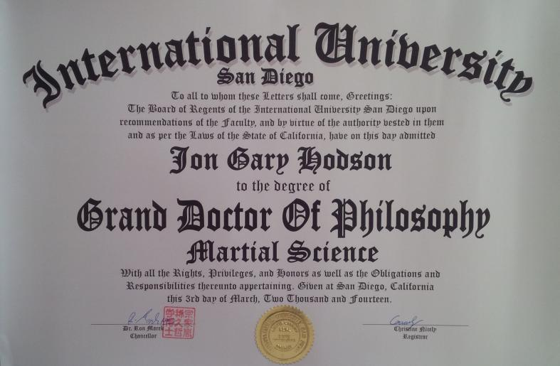 Honorary Doctorate (PhD) in Martial Science